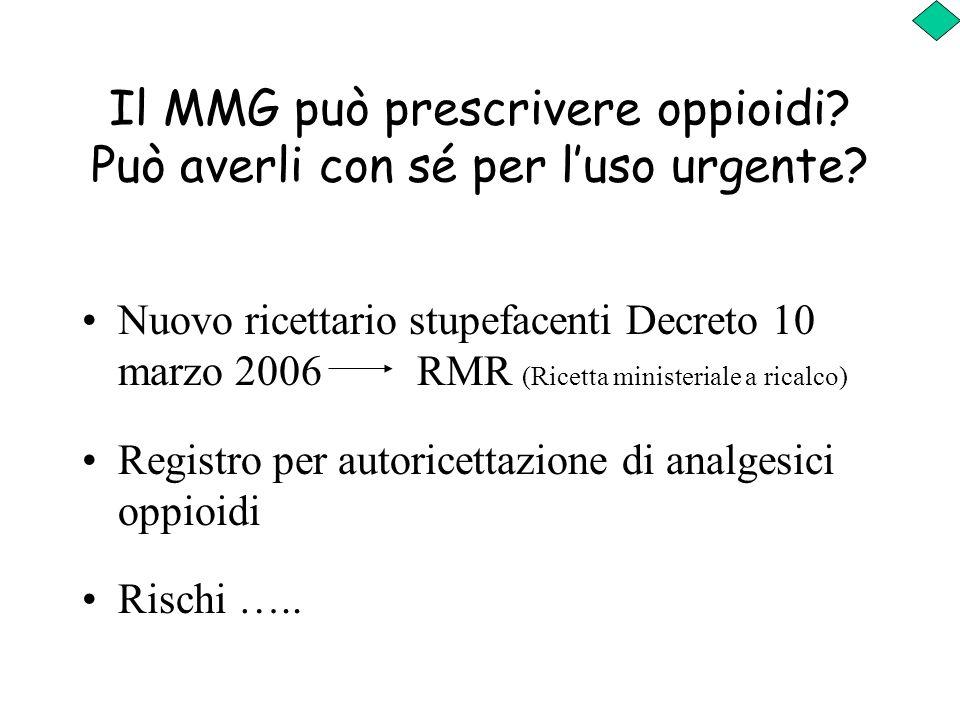 Il MMG può prescrivere oppioidi? Può averli con sé per luso urgente? Nuovo ricettario stupefacenti Decreto 10 marzo 2006 RMR (Ricetta ministeriale a r