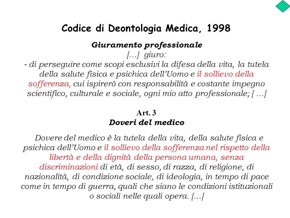 Codice di Deontologia Medica, 1998 Giuramento professionale […] giuro: - di perseguire come scopi esclusivi la difesa della vita, la tutela della salu