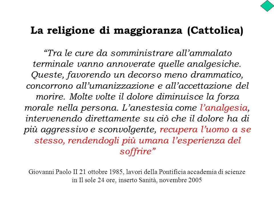 La religione di maggioranza (Cattolica) Tra le cure da somministrare allammalato terminale vanno annoverate quelle analgesiche. Queste, favorendo un d