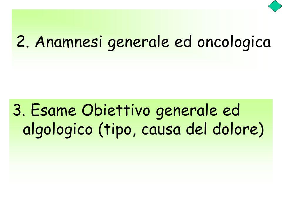 2. Anamnesi generale ed oncologica 3. Esame Obiettivo generale ed algologico (tipo, causa del dolore)