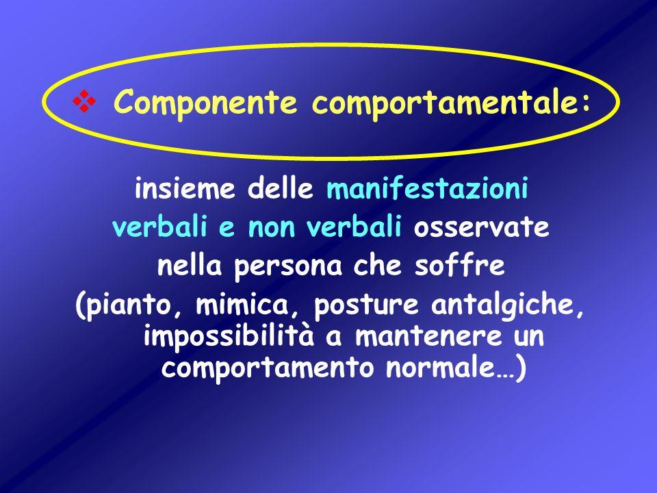 Componente comportamentale: insieme delle manifestazioni verbali e non verbali osservate nella persona che soffre (pianto, mimica, posture antalgiche,
