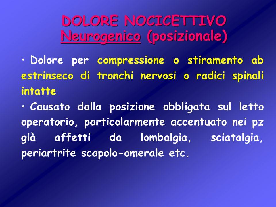 DOLORE NOCICETTIVO Neurogenico (posizionale) Dolore per compressione o stiramento ab estrinseco di tronchi nervosi o radici spinali intatte Causato da