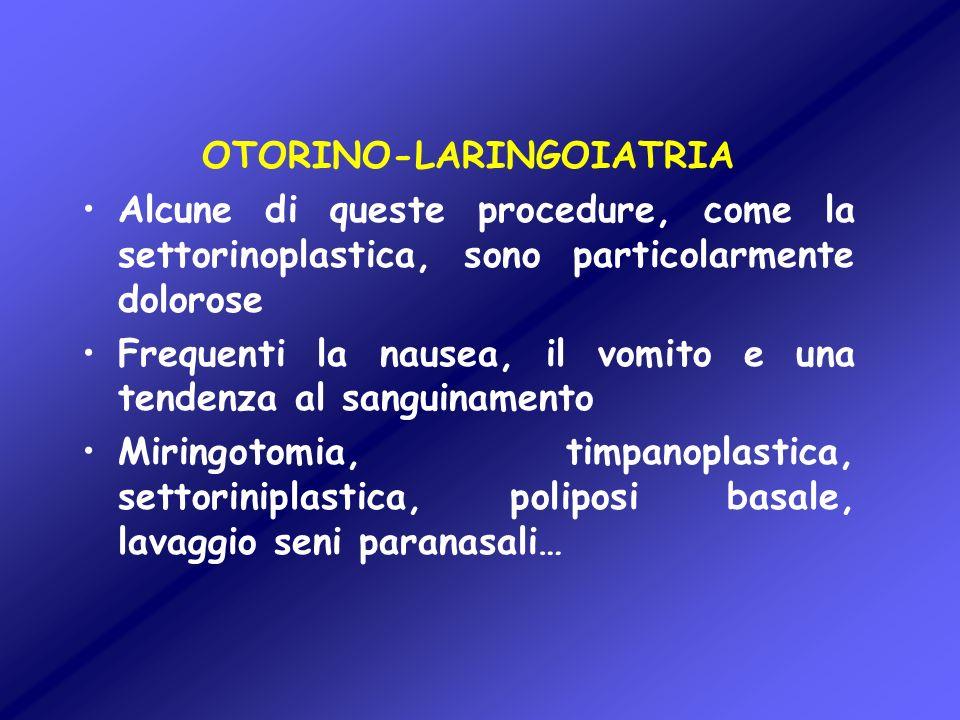 OTORINO-LARINGOIATRIA Alcune di queste procedure, come la settorinoplastica, sono particolarmente dolorose Frequenti la nausea, il vomito e una tenden