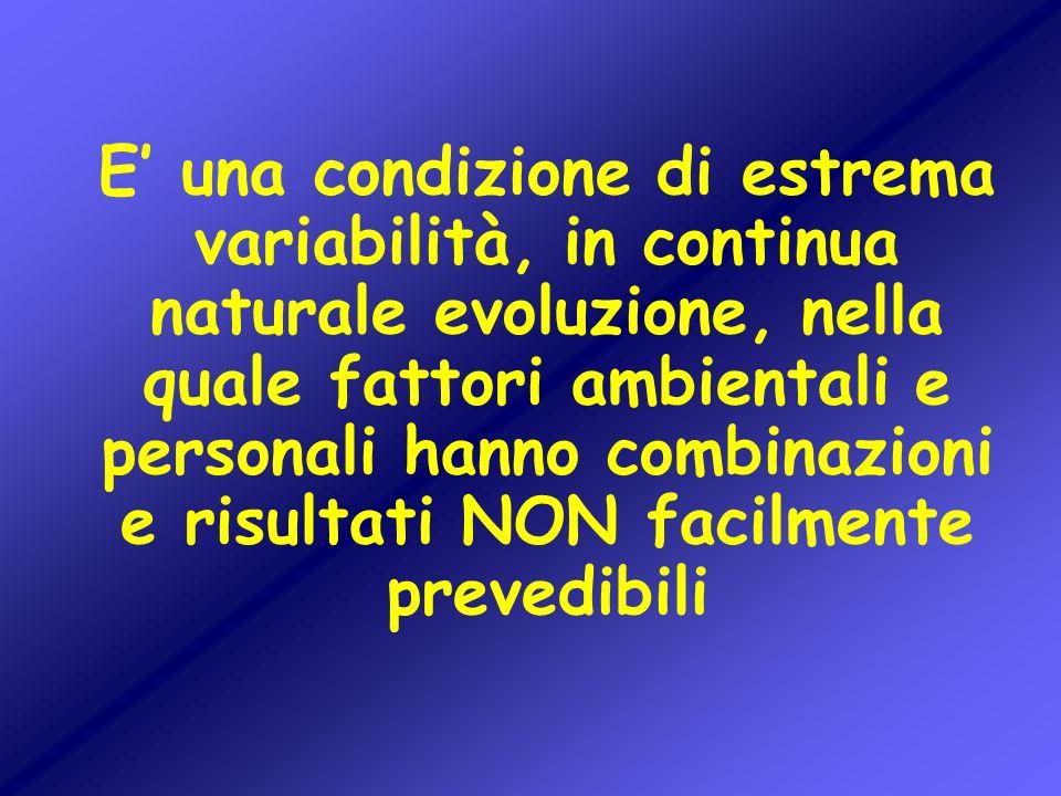 E una condizione di estrema variabilità, in continua naturale evoluzione, nella quale fattori ambientali e personali hanno combinazioni e risultati NO