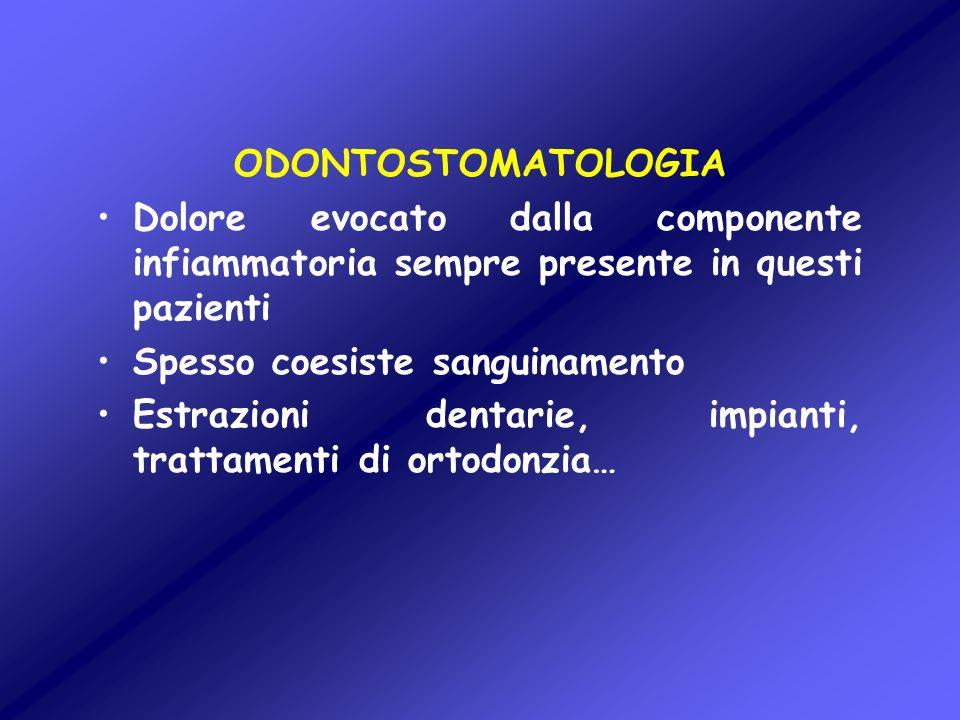 ODONTOSTOMATOLOGIA Dolore evocato dalla componente infiammatoria sempre presente in questi pazienti Spesso coesiste sanguinamento Estrazioni dentarie,
