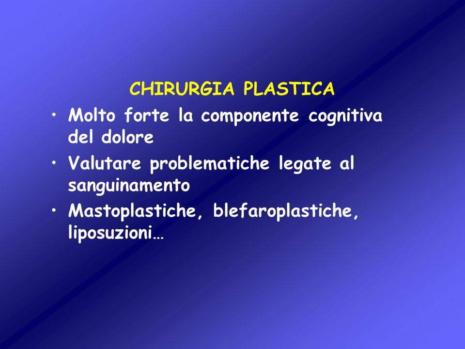 CHIRURGIA PLASTICA Molto forte la componente cognitiva del dolore Valutare problematiche legate al sanguinamento Mastoplastiche, blefaroplastiche, lip