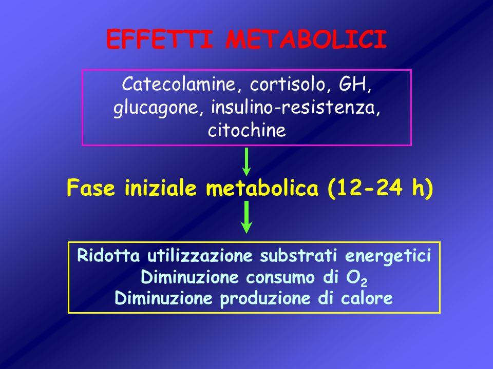 EFFETTI METABOLICI Fase iniziale metabolica (12-24 h) Catecolamine, cortisolo, GH, glucagone, insulino-resistenza, citochine Ridotta utilizzazione sub