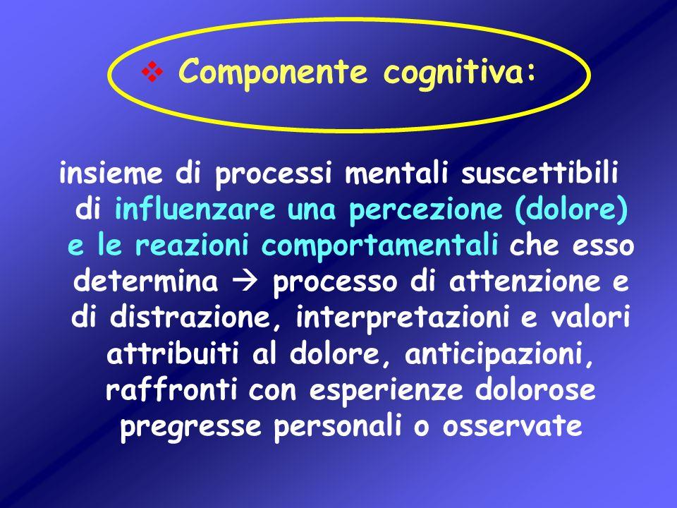Componente cognitiva: insieme di processi mentali suscettibili di influenzare una percezione (dolore) e le reazioni comportamentali che esso determina