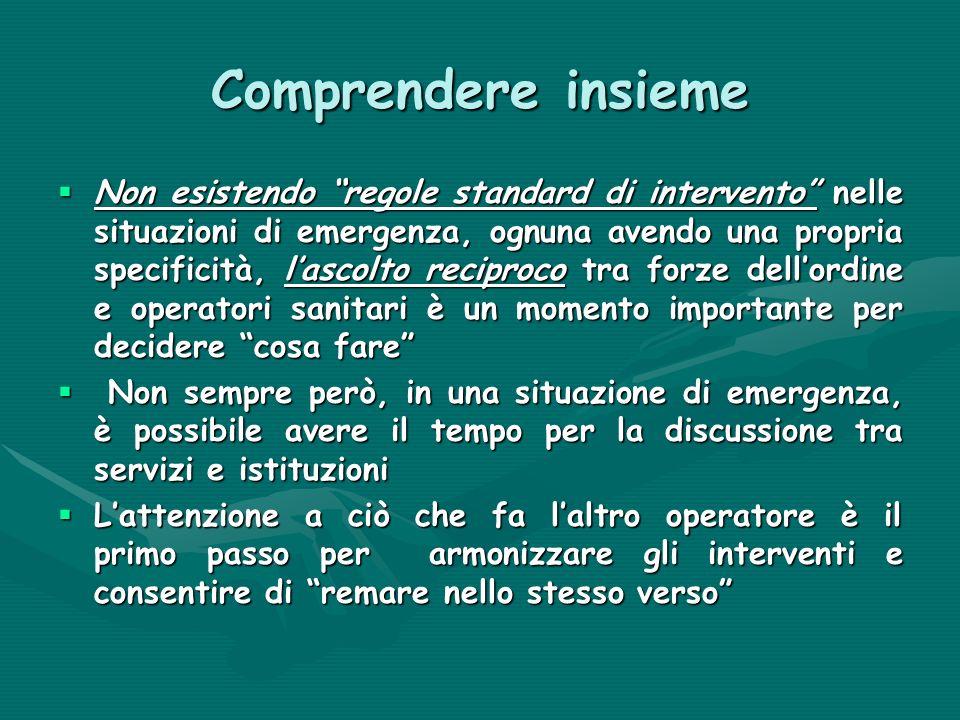 Comprendere insieme Non esistendo regole standard di intervento nelle situazioni di emergenza, ognuna avendo una propria specificità, lascolto recipro