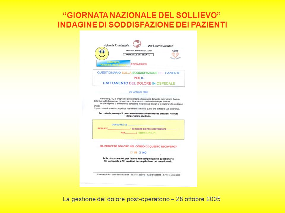 GIORNATA NAZIONALE DEL SOLLIEVO INDAGINE DI SODDISFAZIONE DEI PAZIENTI La gestione del dolore post-operatorio – 28 ottobre 2005