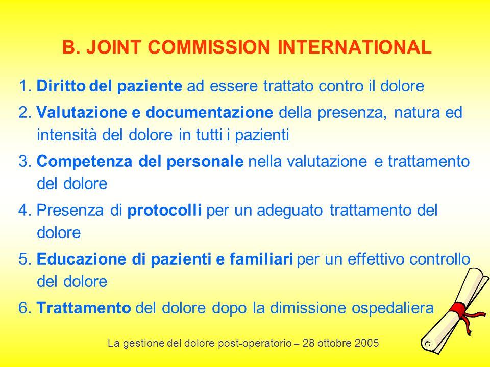 B. JOINT COMMISSION INTERNATIONAL 1. Diritto del paziente ad essere trattato contro il dolore 2. Valutazione e documentazione della presenza, natura e
