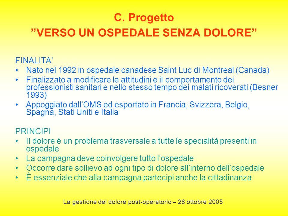 C. Progetto VERSO UN OSPEDALE SENZA DOLORE FINALITA Nato nel 1992 in ospedale canadese Saint Luc di Montreal (Canada) Finalizzato a modificare le atti
