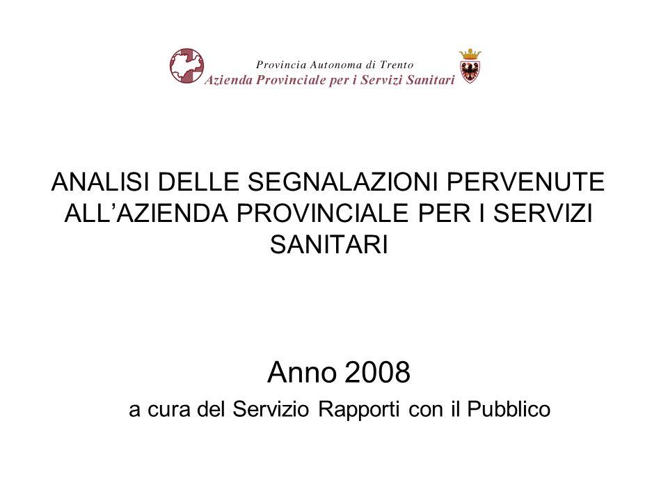 ANALISI DELLE SEGNALAZIONI PERVENUTE ALLAZIENDA PROVINCIALE PER I SERVIZI SANITARI Anno 2008 a cura del Servizio Rapporti con il Pubblico