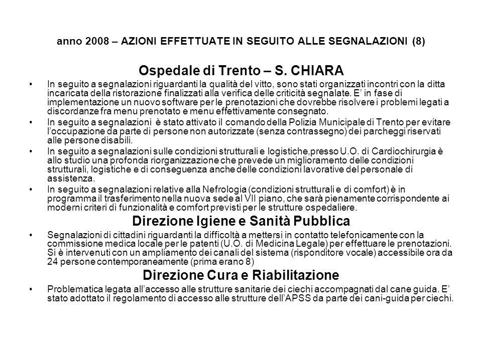 anno 2008 – AZIONI EFFETTUATE IN SEGUITO ALLE SEGNALAZIONI (8) Ospedale di Trento – S. CHIARA In seguito a segnalazioni riguardanti la qualità del vit