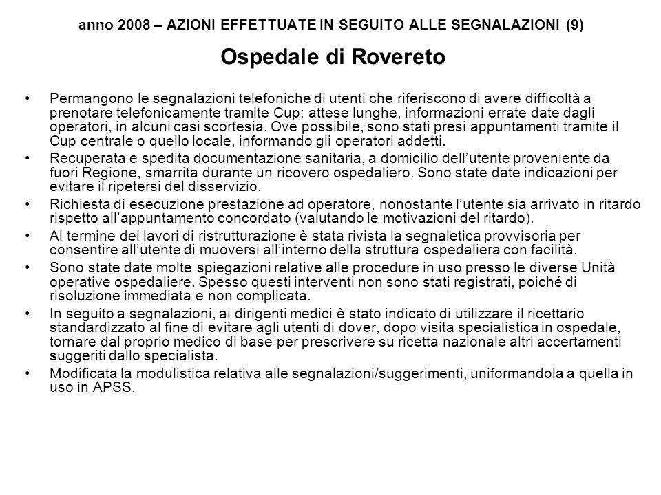 anno 2008 – AZIONI EFFETTUATE IN SEGUITO ALLE SEGNALAZIONI (9) Ospedale di Rovereto Permangono le segnalazioni telefoniche di utenti che riferiscono d