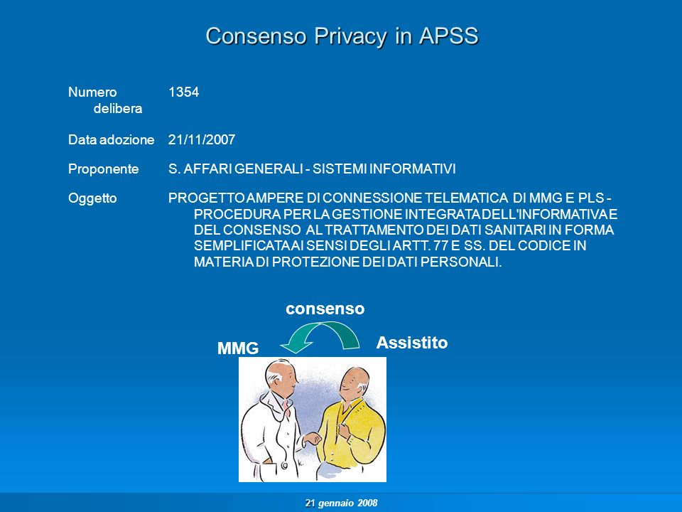 21 21 gennaio 2008 Raccolta Consenso Privacy – tipi di consenso Gli attori che registrano il consenso sono i MMG/PLS e gli uffici anagrafici dei Distretti dellAPSS.