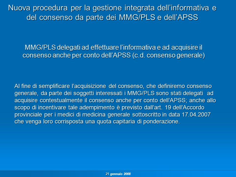 21 21 gennaio 2008 Modulistica Unica di Consenso Privacy in APSS INFORMATIVA A TUTELA DELLA RISERVATEZZA DEI DATI PERSONALI (PRIVACY) – D.LGS 196/03 CONSENSO AL TRATTAMENTO DEI DATI PERSONALI (D.LGS 196/03) RESO AL MEDICO DI FAMIGLIA/PEDIATRA DI LIBERA SCELTA IN QUALITÀ DI TITOLARE DEL TRATTAMENTO