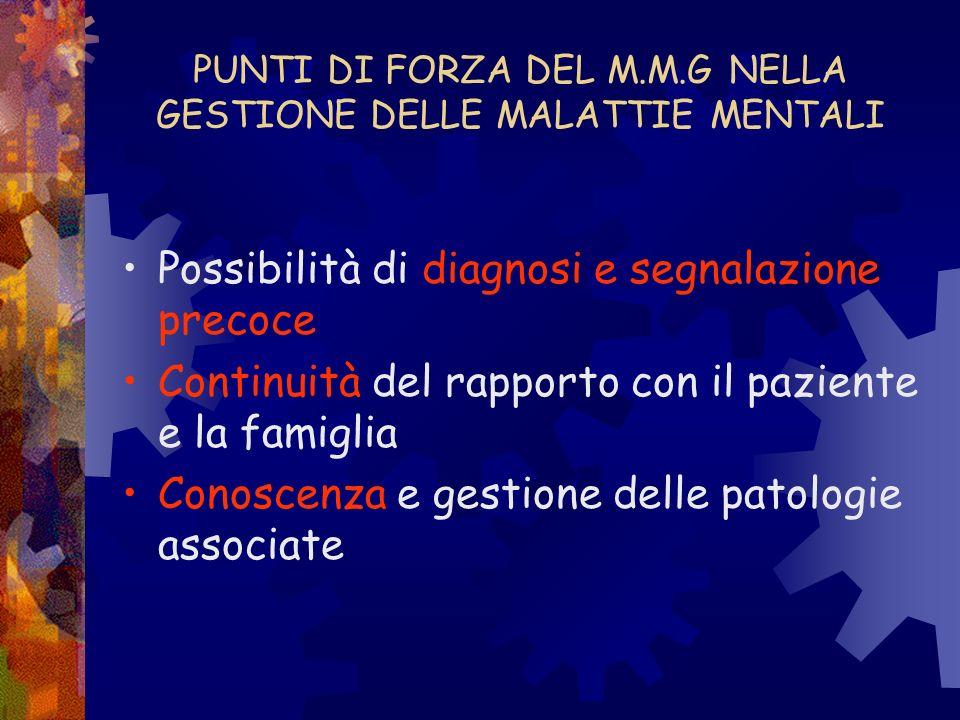 PUNTI DI FORZA DEL M.M.G NELLA GESTIONE DELLE MALATTIE MENTALI Possibilità di diagnosi e segnalazione precoce Continuità del rapporto con il paziente
