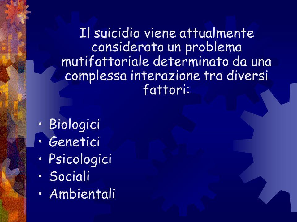Il suicidio viene attualmente considerato un problema mutifattoriale determinato da una complessa interazione tra diversi fattori: Biologici Genetici