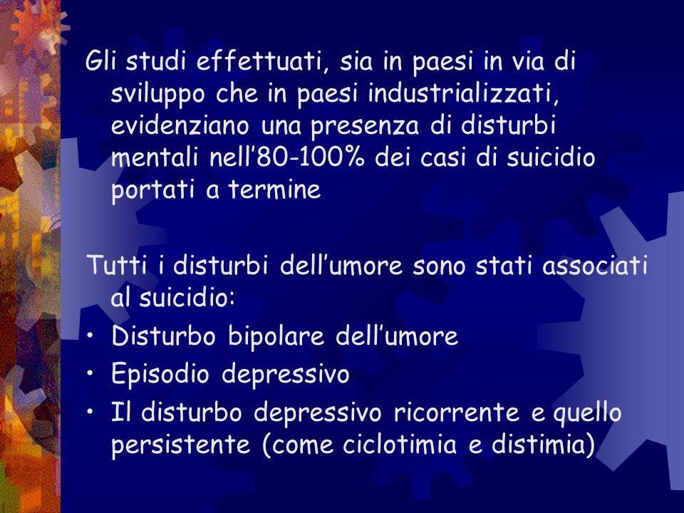 Gli studi effettuati, sia in paesi in via di sviluppo che in paesi industrializzati, evidenziano una presenza di disturbi mentali nell80-100% dei casi