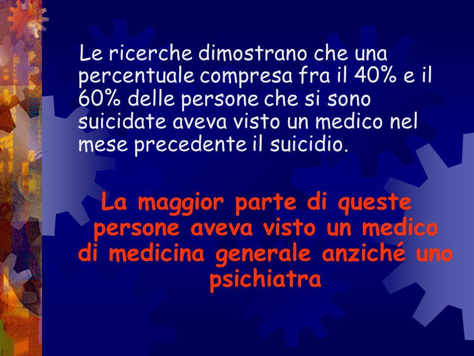 Le ricerche dimostrano che una percentuale compresa fra il 40% e il 60% delle persone che si sono suicidate aveva visto un medico nel mese precedente