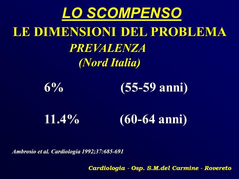 LO SCOMPENSO Cardiologia - Osp. S.M.del Carmine - Rovereto LE DIMENSIONI DEL PROBLEMA PREVALENZA PREVALENZA (Nord Italia) (Nord Italia) 6% (55-59 anni