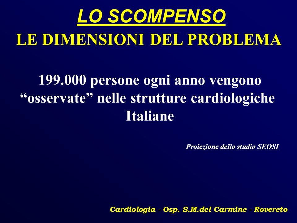LO SCOMPENSO Cardiologia - Osp. S.M.del Carmine - Rovereto LE DIMENSIONI DEL PROBLEMA 199.000 persone ogni anno vengono osservate nelle strutture card