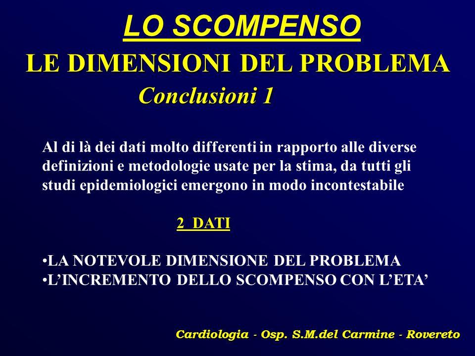 LO SCOMPENSO Cardiologia - Osp. S.M.del Carmine - Rovereto LE DIMENSIONI DEL PROBLEMA Conclusioni 1 Conclusioni 1 Al di là dei dati molto differenti i