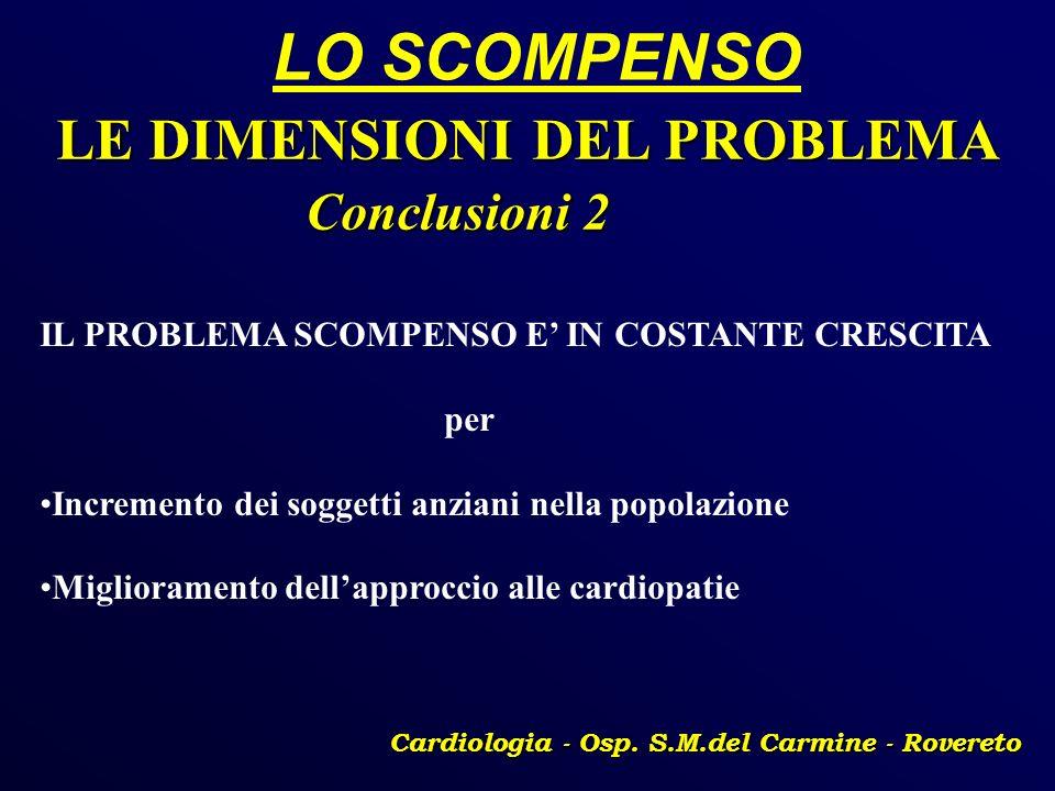 LO SCOMPENSO Cardiologia - Osp. S.M.del Carmine - Rovereto LE DIMENSIONI DEL PROBLEMA Conclusioni 2 Conclusioni 2 IL PROBLEMA SCOMPENSO E IN COSTANTE