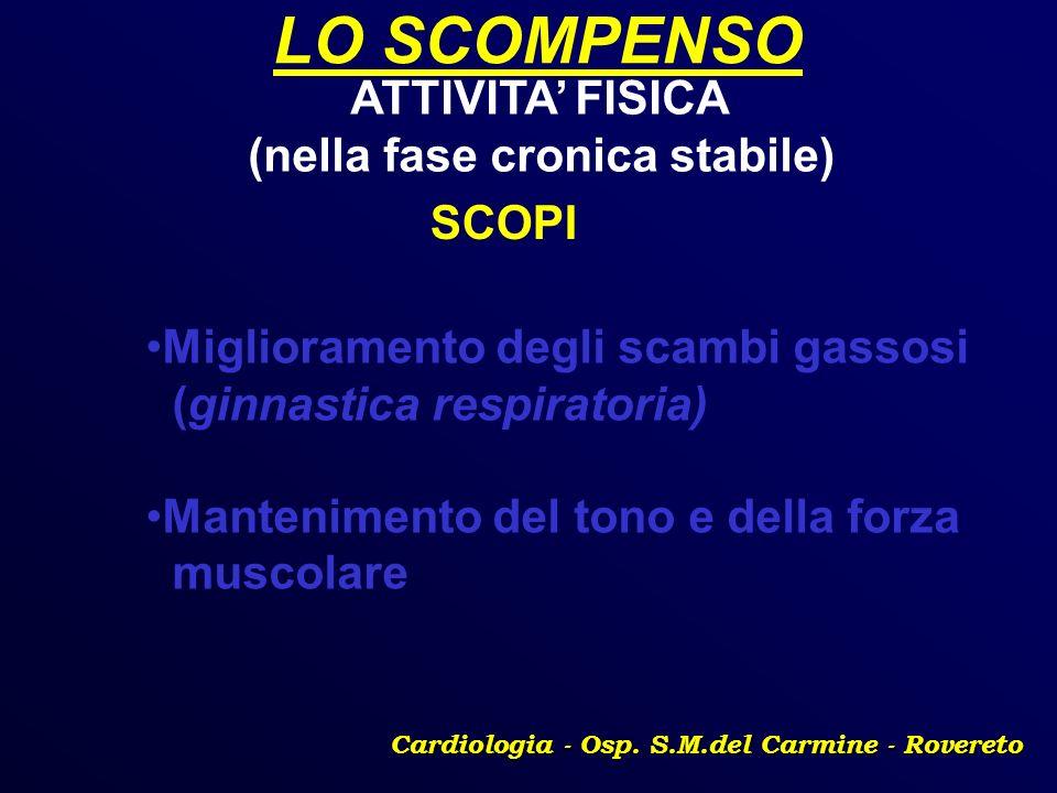 LO SCOMPENSO Cardiologia - Osp. S.M.del Carmine - Rovereto ATTIVITA FISICA (nella fase cronica stabile) SCOPI Miglioramento degli scambi gassosi (ginn