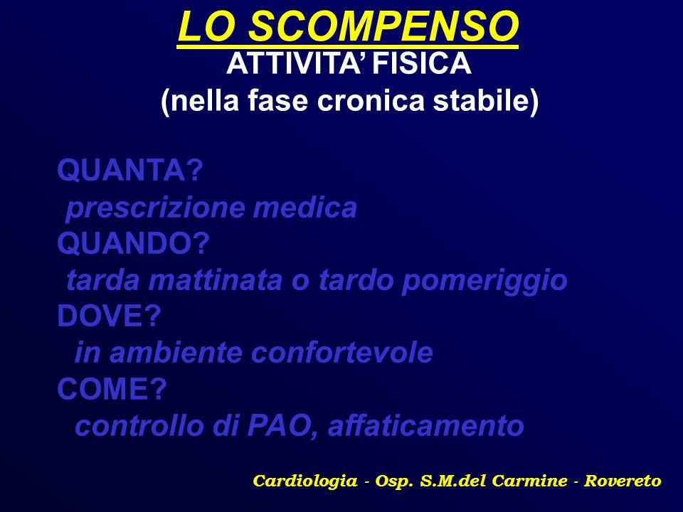 LO SCOMPENSO Cardiologia - Osp. S.M.del Carmine - Rovereto ATTIVITA FISICA (nella fase cronica stabile) QUANTA? prescrizione medica QUANDO? tarda matt