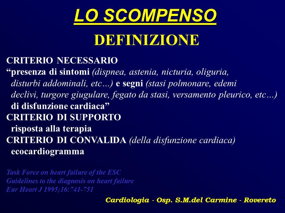 LO SCOMPENSO Cardiologia - Osp. S.M.del Carmine - Rovereto DEFINIZIONE CRITERIO NECESSARIO presenza di sintomi (dispnea, astenia, nicturia, oliguria,