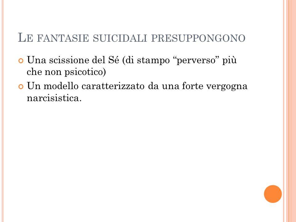 L E FANTASIE SUICIDALI PRESUPPONGONO Una scissione del Sé (di stampo perverso più che non psicotico) Un modello caratterizzato da una forte vergogna n