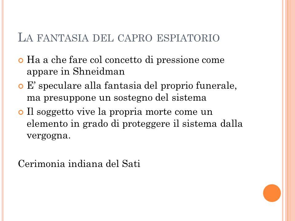 L A FANTASIA DEL CAPRO ESPIATORIO Ha a che fare col concetto di pressione come appare in Shneidman E speculare alla fantasia del proprio funerale, ma
