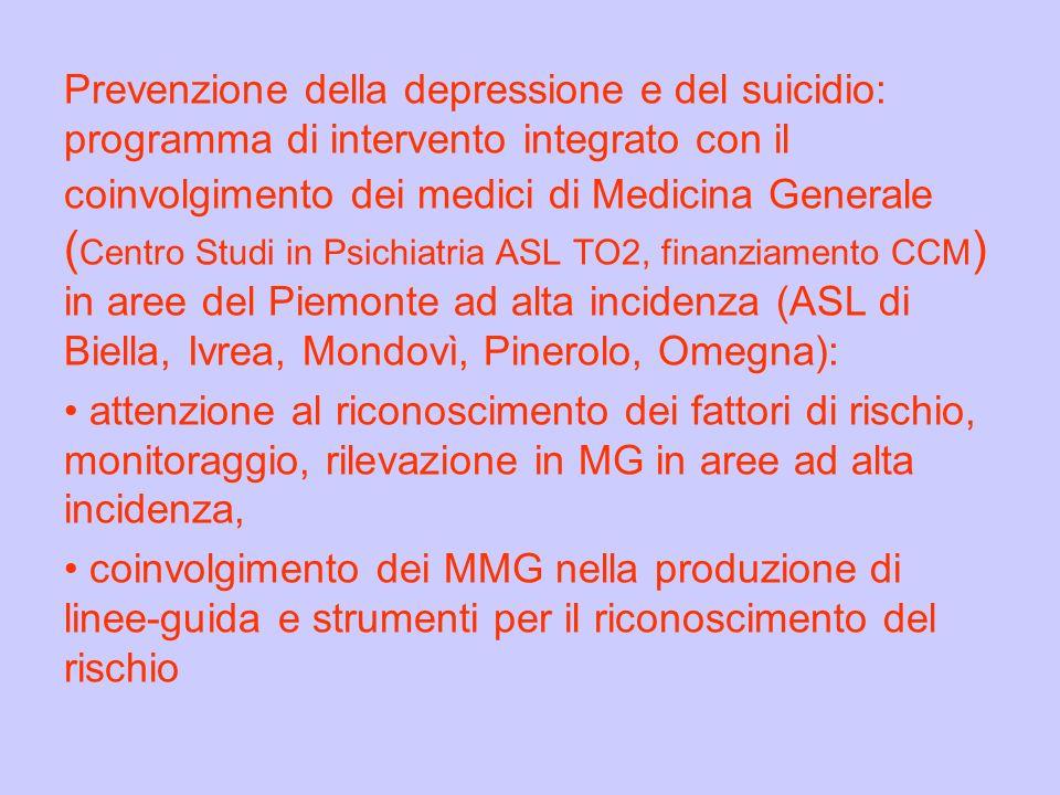Prevenzione della depressione e del suicidio: programma di intervento integrato con il coinvolgimento dei medici di Medicina Generale ( Centro Studi i