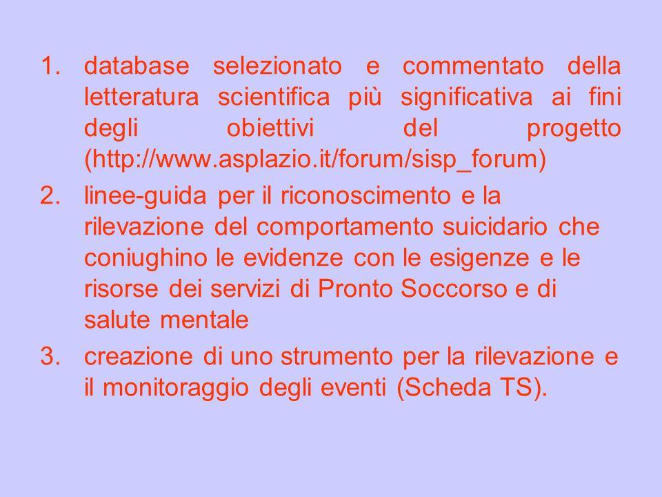 1.database selezionato e commentato della letteratura scientifica più significativa ai fini degli obiettivi del progetto (http://www.asplazio.it/forum