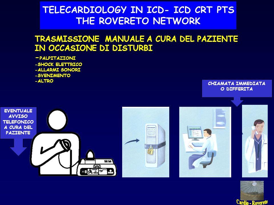 TRASMISSIONE AUTOMATICA PER ALLARME ROSSO - disprogrammazione -rottura dei cateteri -scarica completa della batteria -altri indizi di possibile malfunzionamento grave LA TELECARDIOLOGIA PER I PORTATORI DI DEFIBRILLATORE CHIAMATA E CONSIGLI SMS AUTOMATICO