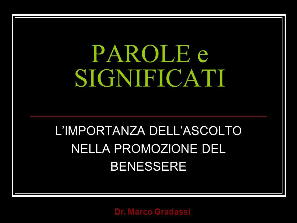 Dr. Marco Gradassi PAROLE e SIGNIFICATI LIMPORTANZA DELLASCOLTO NELLA PROMOZIONE DEL BENESSERE