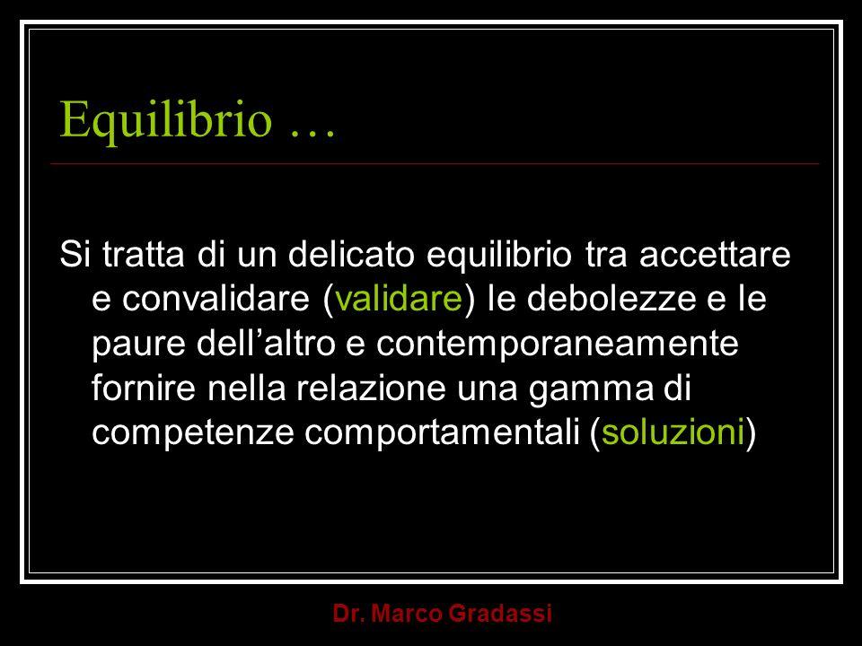 Dr. Marco Gradassi Equilibrio … Si tratta di un delicato equilibrio tra accettare e convalidare (validare) le debolezze e le paure dellaltro e contemp