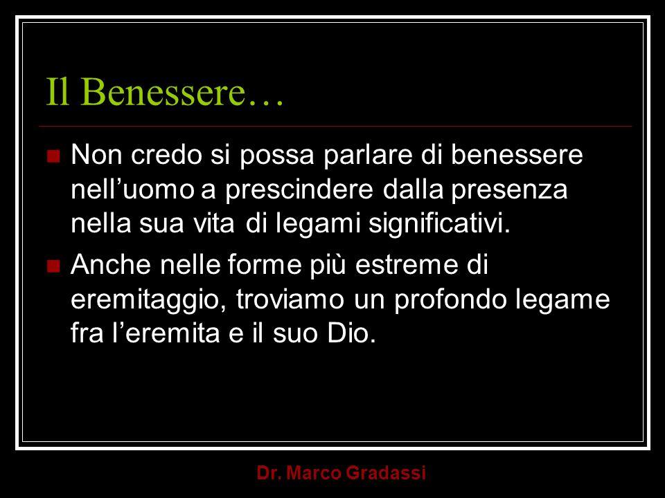Dr. Marco Gradassi Il Benessere… Non credo si possa parlare di benessere nelluomo a prescindere dalla presenza nella sua vita di legami significativi.