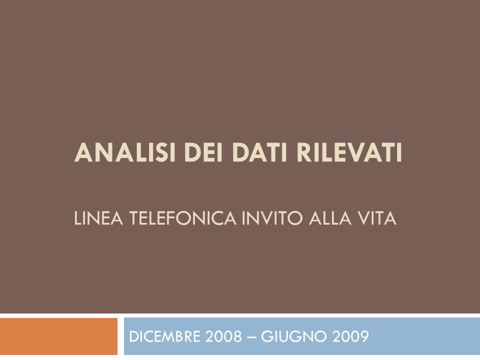 ANALISI DEI DATI RILEVATI LINEA TELEFONICA INVITO ALLA VITA DICEMBRE 2008 – GIUGNO 2009