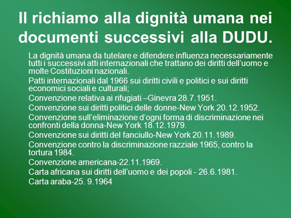 Il richiamo alla dignità umana nei documenti successivi alla DUDU. La dignità umana da tutelare e difendere influenza necessariamente tutti i successi