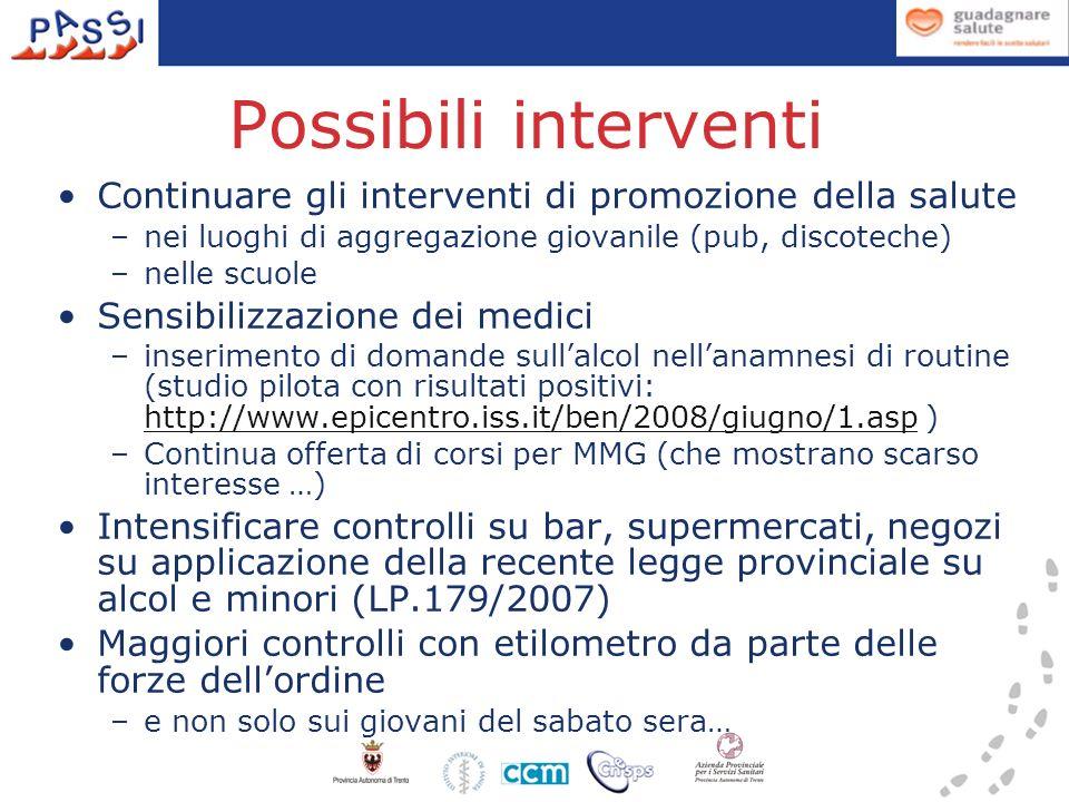 Possibili interventi Continuare gli interventi di promozione della salute –nei luoghi di aggregazione giovanile (pub, discoteche) –nelle scuole Sensibilizzazione dei medici –inserimento di domande sullalcol nellanamnesi di routine (studio pilota con risultati positivi: http://www.epicentro.iss.it/ben/2008/giugno/1.asp ) http://www.epicentro.iss.it/ben/2008/giugno/1.asp –Continua offerta di corsi per MMG (che mostrano scarso interesse …) Intensificare controlli su bar, supermercati, negozi su applicazione della recente legge provinciale su alcol e minori (LP.179/2007) Maggiori controlli con etilometro da parte delle forze dellordine –e non solo sui giovani del sabato sera…