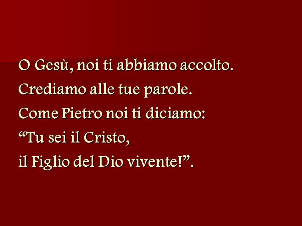 O Gesù, noi ti abbiamo accolto. Crediamo alle tue parole. Come Pietro noi ti diciamo: Tu sei il Cristo, il Figlio del Dio vivente!.