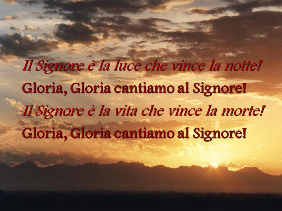 Il Signore è la luce che vince la notte! Gloria, Gloria cantiamo al Signore! Il Signore è la vita che vince la morte! Gloria, Gloria cantiamo al Signo