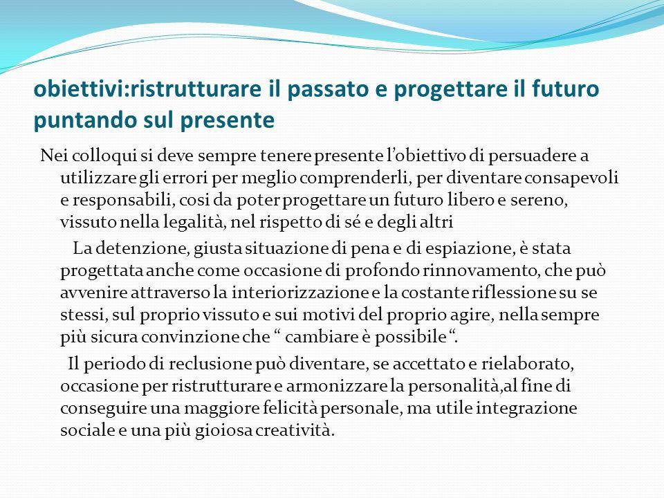 obiettivi:ristrutturare il passato e progettare il futuro puntando sul presente Nei colloqui si deve sempre tenere presente lobiettivo di persuadere a