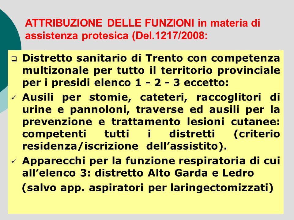 ATTRIBUZIONE DELLE FUNZIONI in materia di assistenza protesica (Del.1217/2008: Distretto sanitario di Trento con competenza multizonale per tutto il t