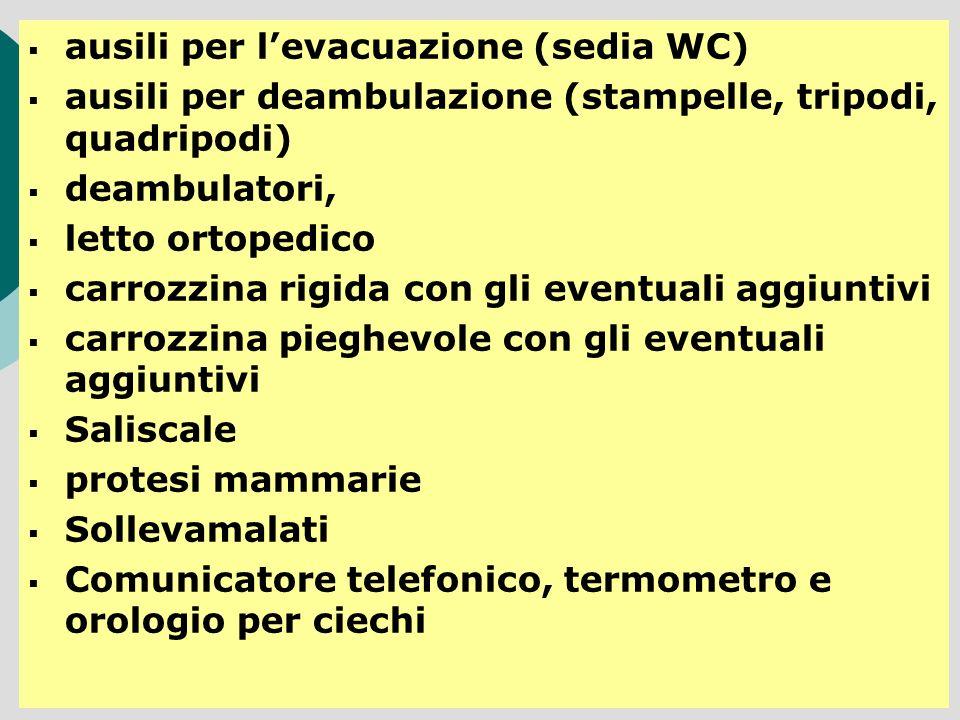 ausili per levacuazione (sedia WC) ausili per deambulazione (stampelle, tripodi, quadripodi) deambulatori, letto ortopedico carrozzina rigida con gli
