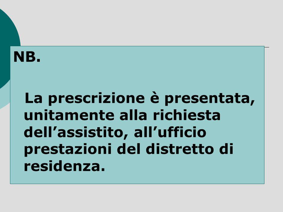 NB. La prescrizione è presentata, unitamente alla richiesta dellassistito, allufficio prestazioni del distretto di residenza.