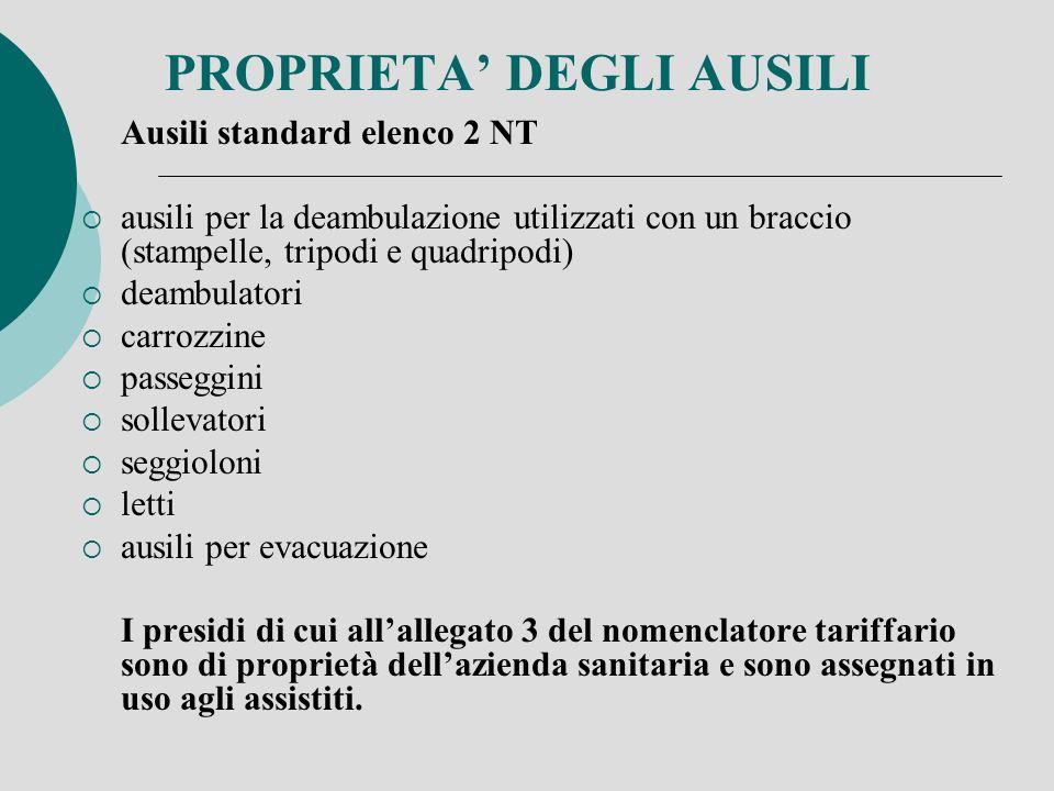 PROPRIETA DEGLI AUSILI Ausili standard elenco 2 NT ausili per la deambulazione utilizzati con un braccio (stampelle, tripodi e quadripodi) deambulator